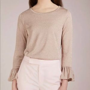 J Crew Sparkle Top XL Champagne Bell Sleeve NEW